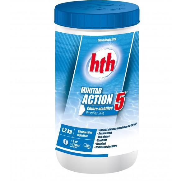 Chlore stabilisé multifonction HTH MINITAB ACTION 5 petites piscines Pastilles 20g