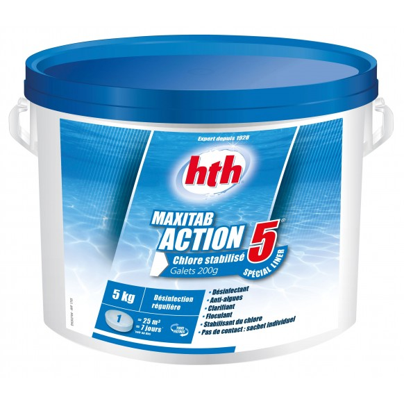 MAXITAB ACTION 5  HTH Spécial liner piscine galets 200 g.