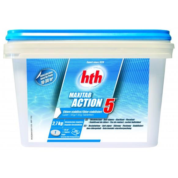 Chlore stabilisé MAXITAB ACTION 5 HTH piscines hors-sol 10 à 30 m3 Galet 135 g