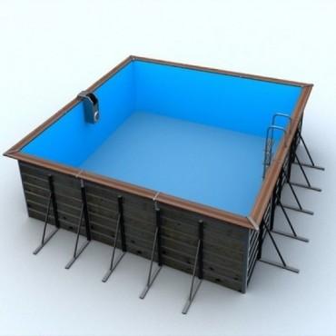 Piscine bois Water'Clip Optimum carré EGINE 3,70 m x 3,70 m x 1,47 m