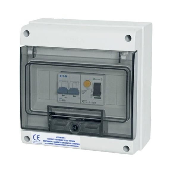 Coffret SPL protection pompe à chaleur avec différentiel 30 mA et disjoncteur courbe D