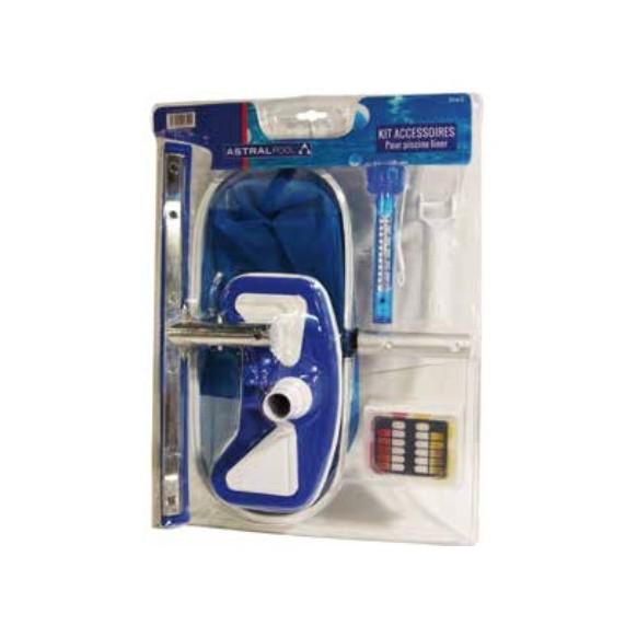 Kit entretien :  brosse, épuisette, balai, thermomètre, kit d'analyse