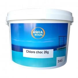 Chlore choc pastilles 20 g. Aquasoleil, seau de 5 kg
